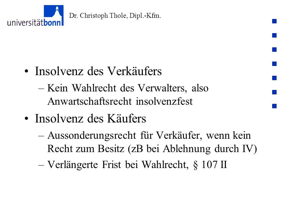 Dr. Christoph Thole, Dipl.-Kfm. Insolvenz des Verkäufers –Kein Wahlrecht des Verwalters, also Anwartschaftsrecht insolvenzfest Insolvenz des Käufers –