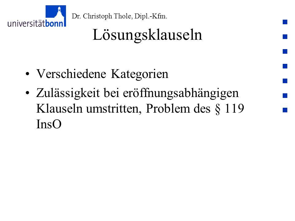 Dr. Christoph Thole, Dipl.-Kfm. Lösungsklauseln Verschiedene Kategorien Zulässigkeit bei eröffnungsabhängigen Klauseln umstritten, Problem des § 119 I