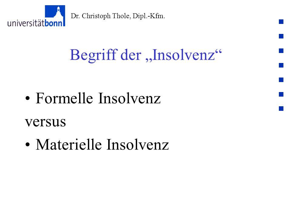 """Dr. Christoph Thole, Dipl.-Kfm. Begriff der """"Insolvenz"""" Formelle Insolvenz versus Materielle Insolvenz"""