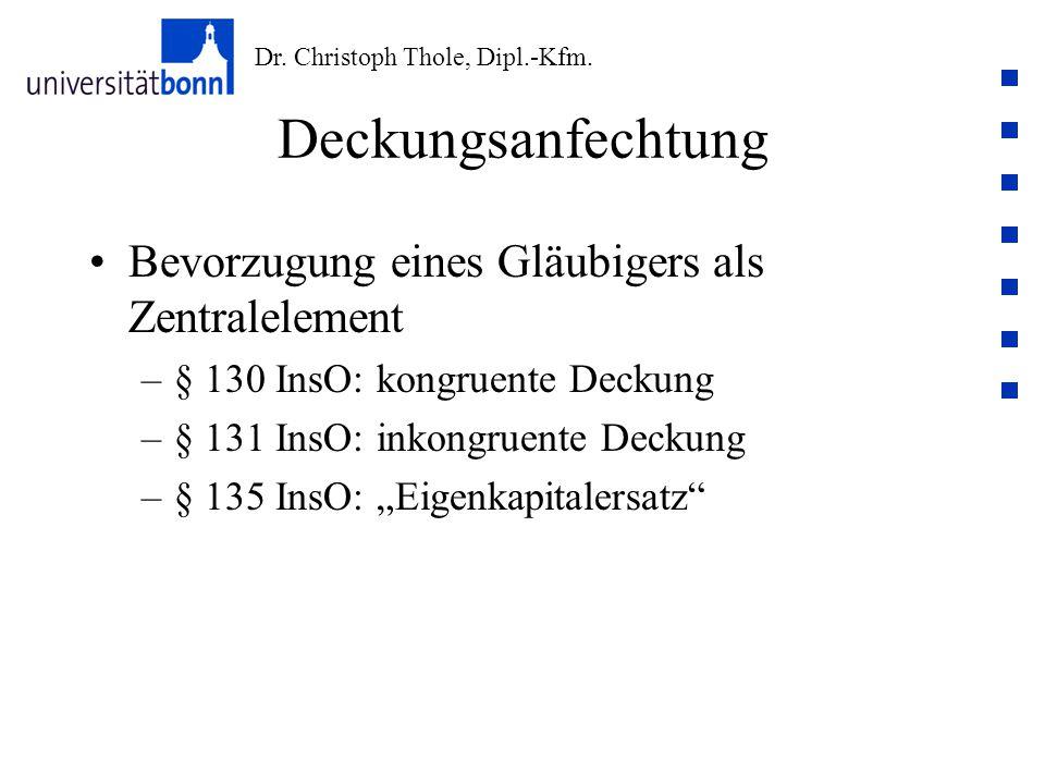 Dr. Christoph Thole, Dipl.-Kfm. Deckungsanfechtung Bevorzugung eines Gläubigers als Zentralelement –§ 130 InsO: kongruente Deckung –§ 131 InsO: inkong