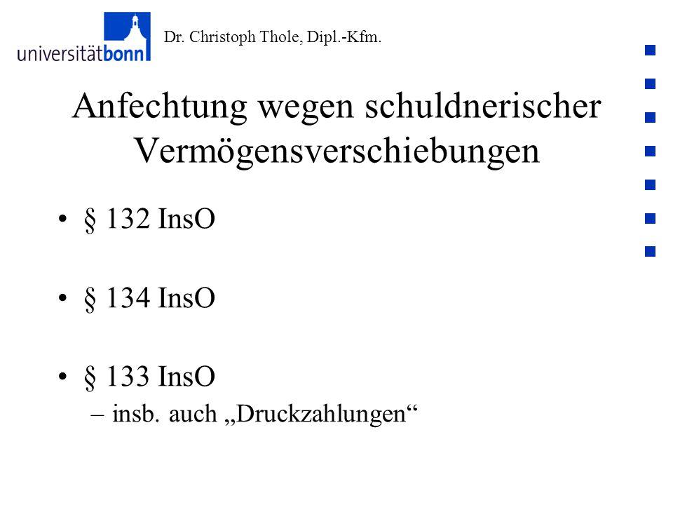 """Dr. Christoph Thole, Dipl.-Kfm. Anfechtung wegen schuldnerischer Vermögensverschiebungen § 132 InsO § 134 InsO § 133 InsO –insb. auch """"Druckzahlungen"""""""