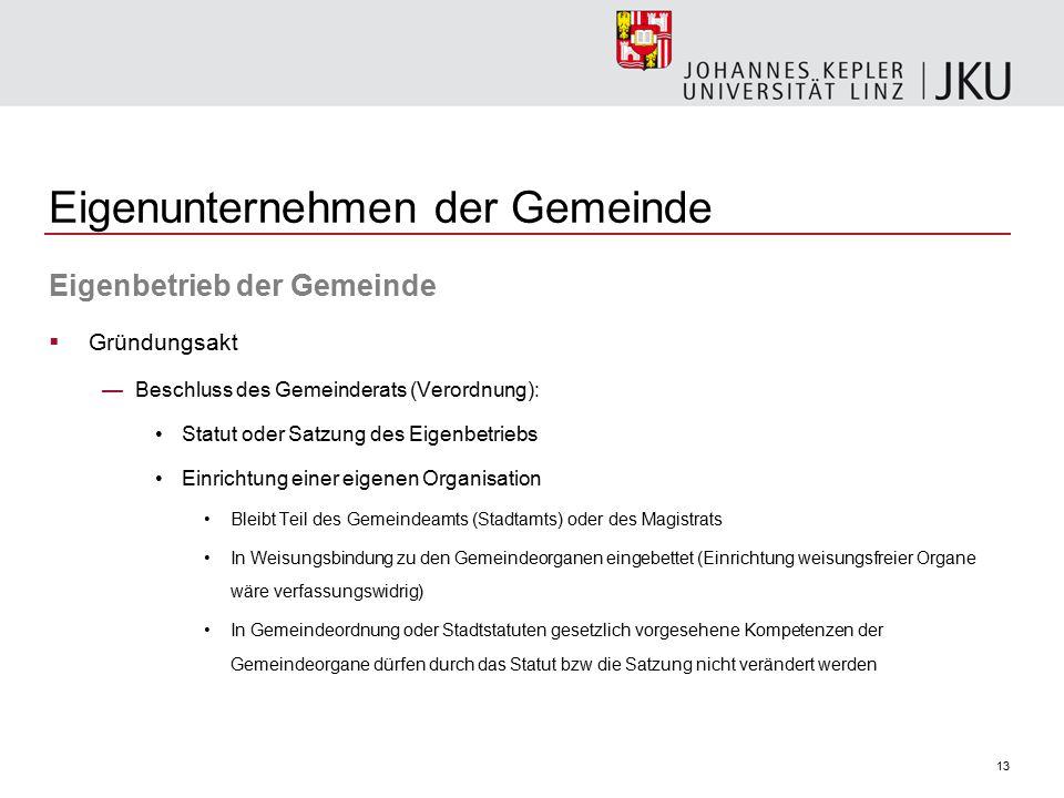 13 Eigenunternehmen der Gemeinde Eigenbetrieb der Gemeinde  Gründungsakt —Beschluss des Gemeinderats (Verordnung): Statut oder Satzung des Eigenbetri
