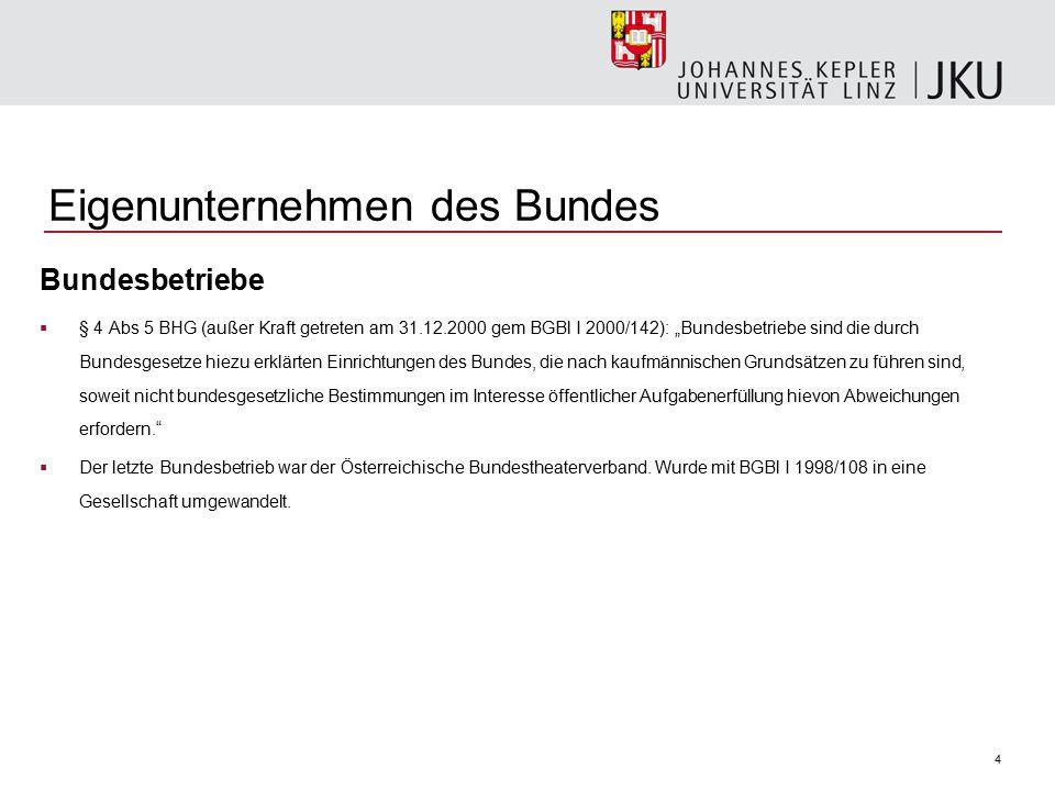 """4 Eigenunternehmen des Bundes Bundesbetriebe  § 4 Abs 5 BHG (außer Kraft getreten am 31.12.2000 gem BGBl I 2000/142): """"Bundesbetriebe sind die durch"""