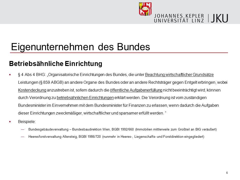 """5 Eigenunternehmen des Bundes Betriebsähnliche Einrichtung  § 4 Abs 4 BHG: """"Organisatorische Einrichtungen des Bundes, die unter Beachtung wirtschaft"""