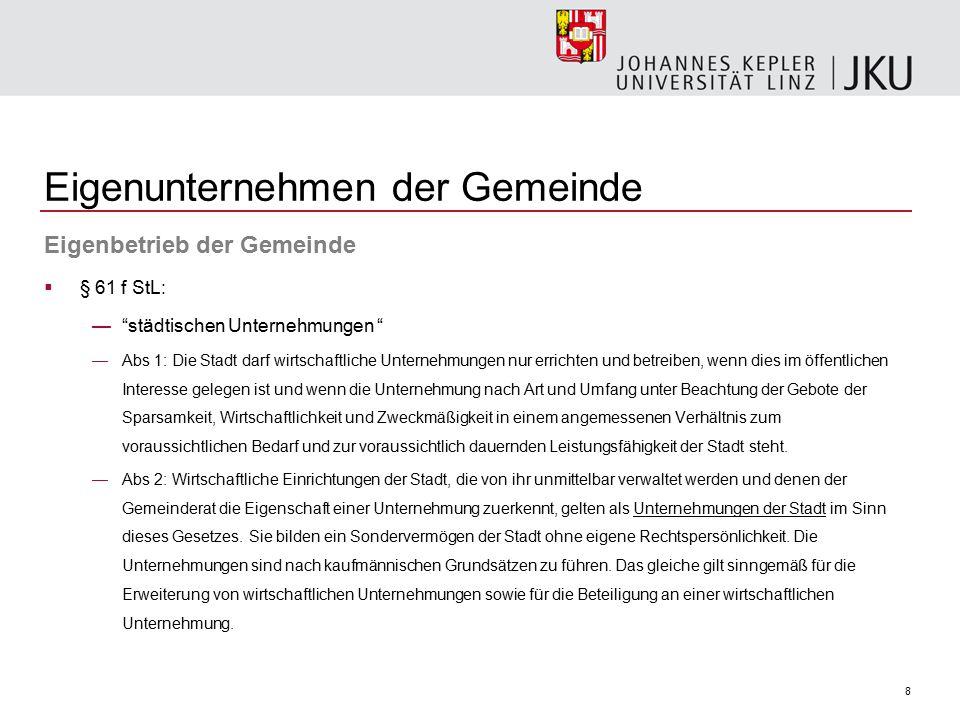 """8 Eigenunternehmen der Gemeinde Eigenbetrieb der Gemeinde  § 61 f StL: —""""städtischen Unternehmungen """" —Abs 1: Die Stadt darf wirtschaftliche Unterneh"""