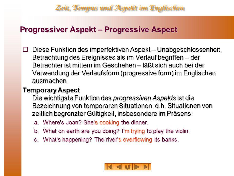 Progressiver Aspekt: Temporäre Gültigkeit volle Gültigkeit abnehmende Gültigkeit jetzt Vergangenheit Zukunft