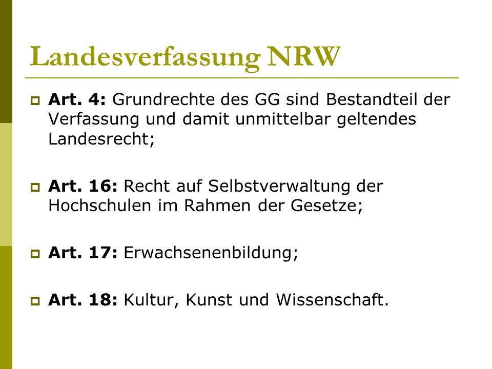 Landesverfassung NRW  Art. 4: Grundrechte des GG sind Bestandteil der Verfassung und damit unmittelbar geltendes Landesrecht;  Art. 16: Recht auf Se