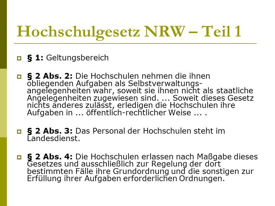 Hochschulgesetz NRW – Teil 1  § 1: Geltungsbereich  § 2 Abs. 2: Die Hochschulen nehmen die ihnen obliegenden Aufgaben als Selbstverwaltungs- angeleg