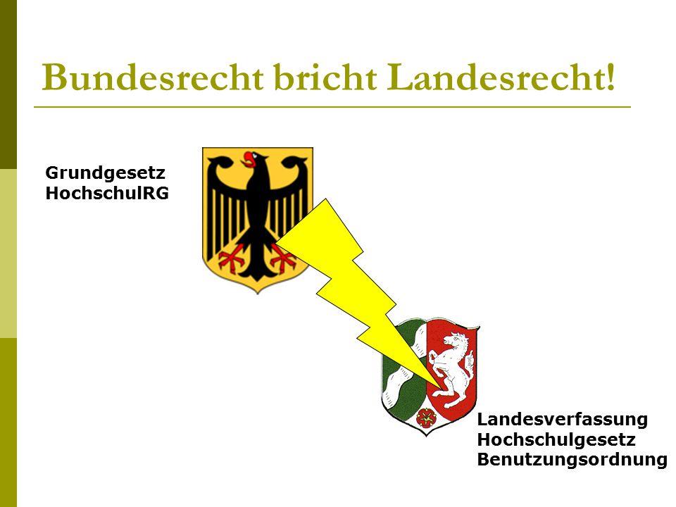 Bundesrecht bricht Landesrecht! Grundgesetz HochschulRG Landesverfassung Hochschulgesetz Benutzungsordnung