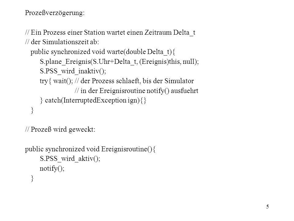 5 Prozeßverzögerung: // Ein Prozess einer Station wartet einen Zeitraum Delta_t // der Simulationszeit ab: public synchronized void warte(double Delta_t){ S.plane_Ereignis(S.Uhr+Delta_t, (Ereignis)this, null); S.PSS_wird_inaktiv(); try{ wait(); // der Prozess schlaeft, bis der Simulator // in der Ereignisroutine notify() ausfuehrt } catch(InterruptedException ign){} } // Prozeß wird geweckt: public synchronized void Ereignisroutine(){ S.PSS_wird_aktiv(); notify(); }