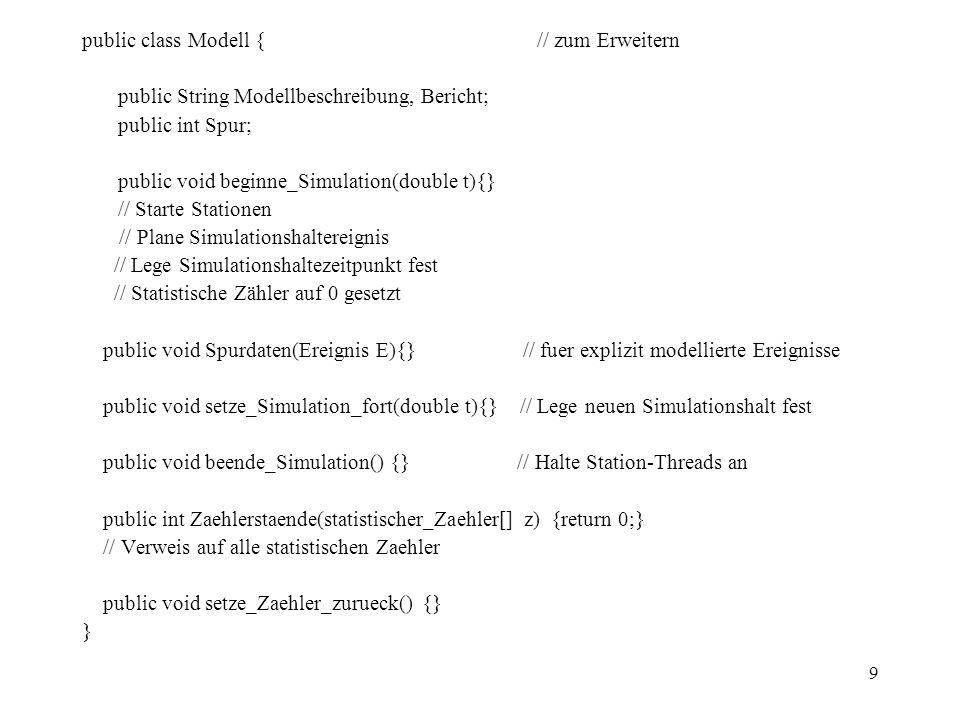 9 public class Modell { // zum Erweitern public String Modellbeschreibung, Bericht; public int Spur; public void beginne_Simulation(double t){} // Starte Stationen // Plane Simulationshaltereignis // Lege Simulationshaltezeitpunkt fest // Statistische Zähler auf 0 gesetzt public void Spurdaten(Ereignis E){} // fuer explizit modellierte Ereignisse public void setze_Simulation_fort(double t){} // Lege neuen Simulationshalt fest public void beende_Simulation() {} // Halte Station-Threads an public int Zaehlerstaende(statistischer_Zaehler[] z) {return 0;} // Verweis auf alle statistischen Zaehler public void setze_Zaehler_zurueck() {} }