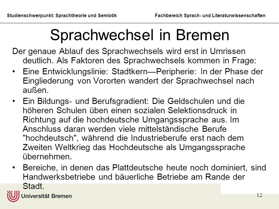 Studienschwerpunkt: Sprachtheorie und SemiotikFachbereich Sprach- und Literaturwissenschaften 12 Sprachwechsel in Bremen Der genaue Ablauf des Sprachwechsels wird erst in Umrissen deutlich.