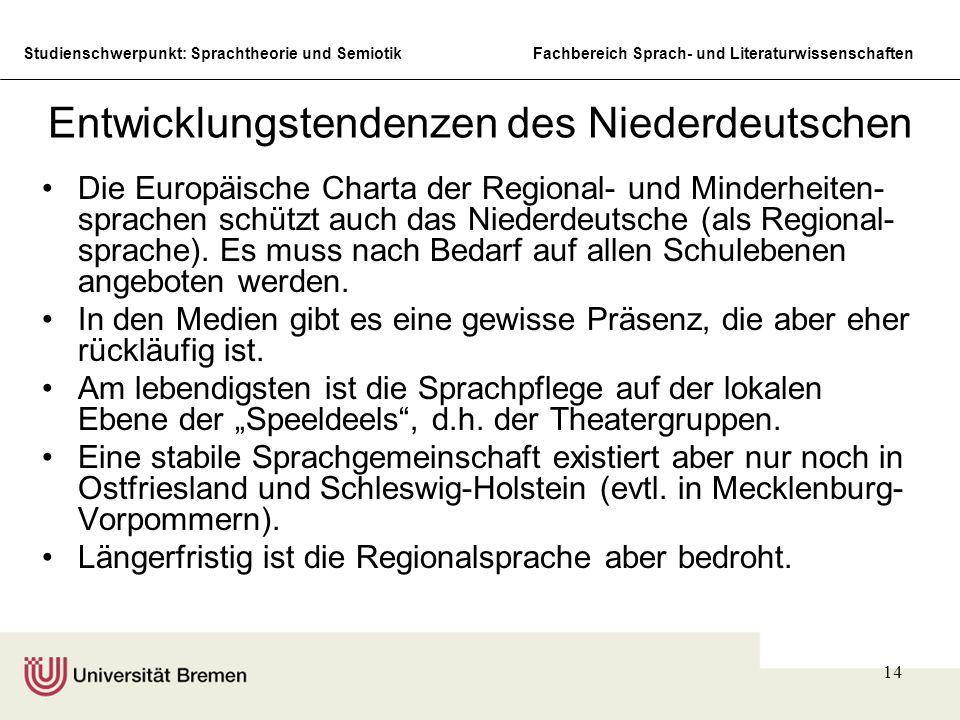 Studienschwerpunkt: Sprachtheorie und SemiotikFachbereich Sprach- und Literaturwissenschaften 14 Entwicklungstendenzen des Niederdeutschen Die Europäische Charta der Regional- und Minderheiten- sprachen schützt auch das Niederdeutsche (als Regional- sprache).