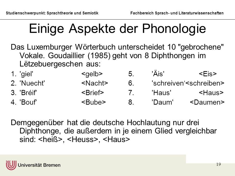 Studienschwerpunkt: Sprachtheorie und SemiotikFachbereich Sprach- und Literaturwissenschaften 19 Einige Aspekte der Phonologie Das Luxemburger Wörterbuch unterscheidet 10 gebrochene Vokale.