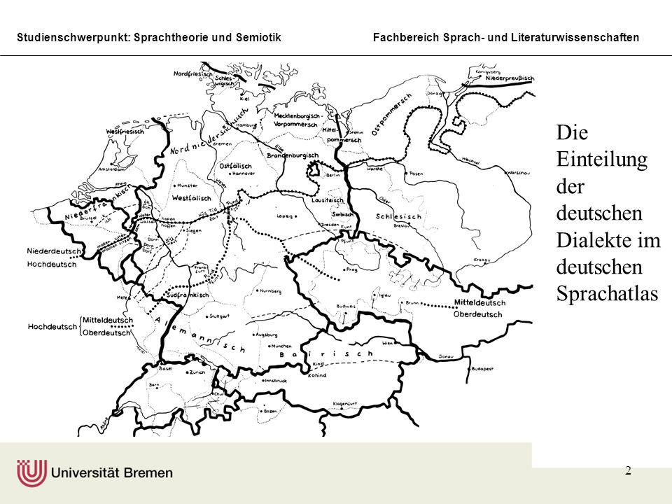 Studienschwerpunkt: Sprachtheorie und SemiotikFachbereich Sprach- und Literaturwissenschaften 2 Die Einteilung der deutschen Dialekte im deutschen Sprachatlas