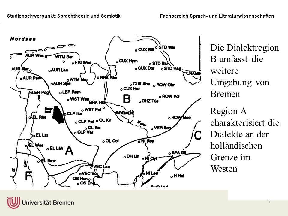 Studienschwerpunkt: Sprachtheorie und SemiotikFachbereich Sprach- und Literaturwissenschaften 7 Die Dialektregion B umfasst die weitere Umgebung von Bremen Region A charakterisiert die Dialekte an der holländischen Grenze im Westen