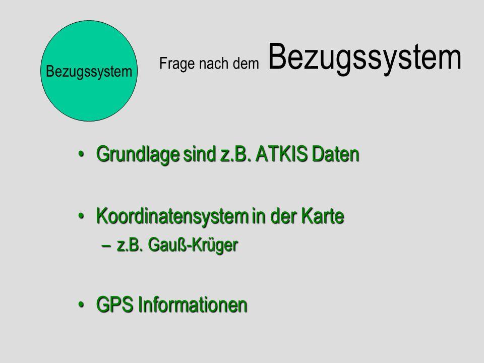 Frage nach dem Bezugssystem Grundlage sind z.B. ATKIS DatenGrundlage sind z.B. ATKIS Daten Koordinatensystem in der KarteKoordinatensystem in der Kart