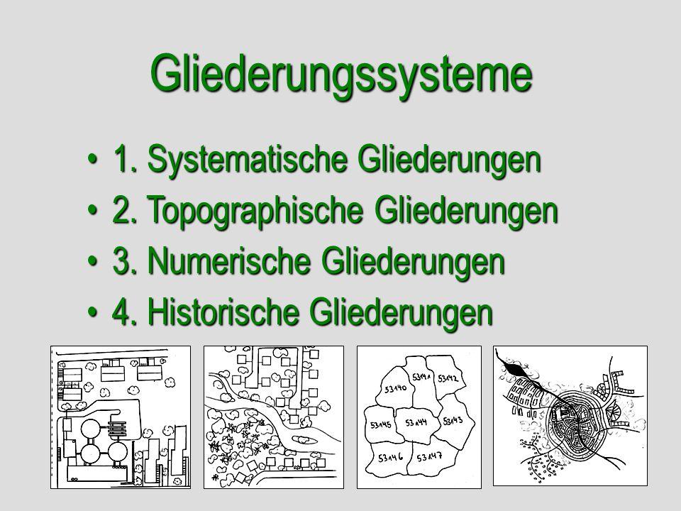 Gliederungssysteme 4. Historische Gliederungen4. Historische Gliederungen 3. Numerische Gliederungen3. Numerische Gliederungen 2. Topographische Glied