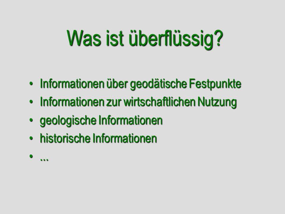 Was ist überflüssig? Informationen über geodätische FestpunkteInformationen über geodätische Festpunkte Informationen zur wirtschaftlichen NutzungInfo