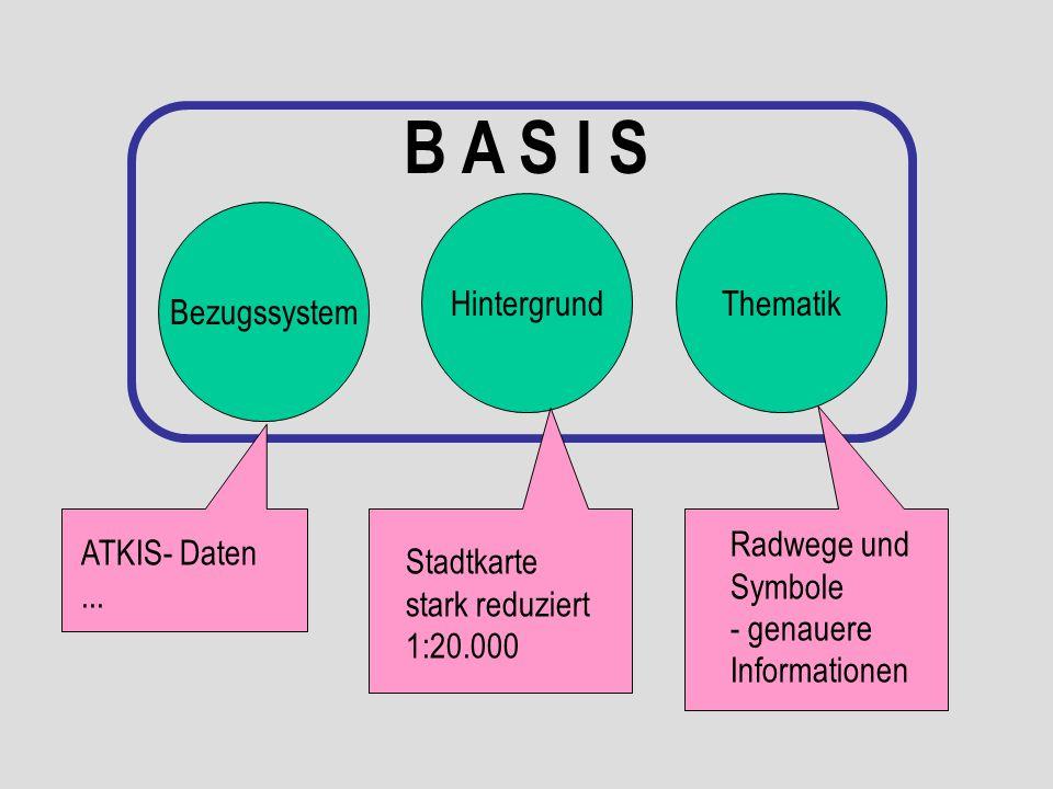 Bezugssystem HintergrundThematik B A S I S ATKIS- Daten... Stadtkarte stark reduziert 1:20.000 Radwege und Symbole - genauere Informationen