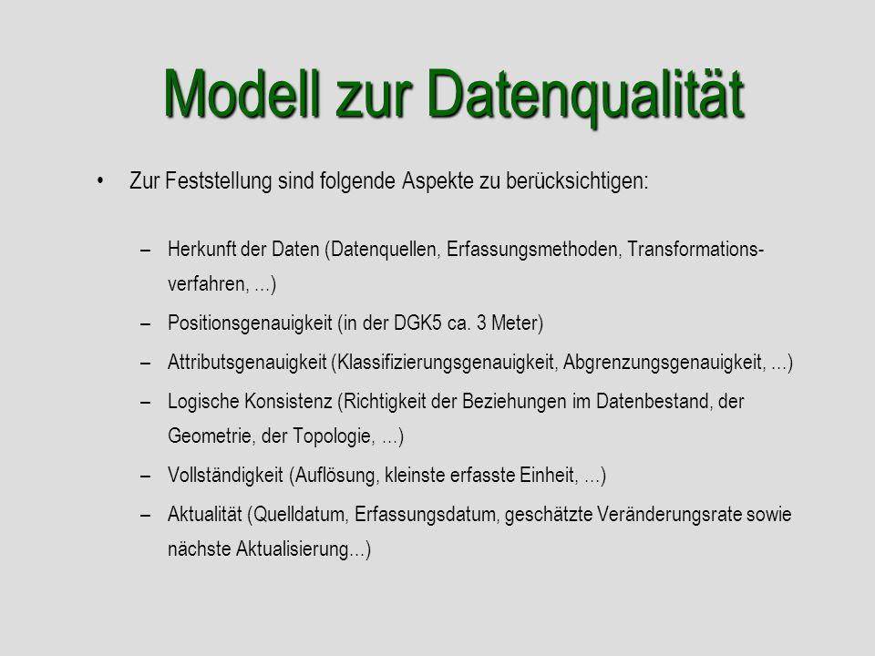 Modell zur Datenqualität Zur Feststellung sind folgende Aspekte zu berücksichtigen: –Herkunft der Daten (Datenquellen, Erfassungsmethoden, Transformat