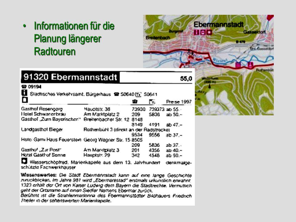 Informationen für die Planung längerer RadtourenInformationen für die Planung längerer Radtouren
