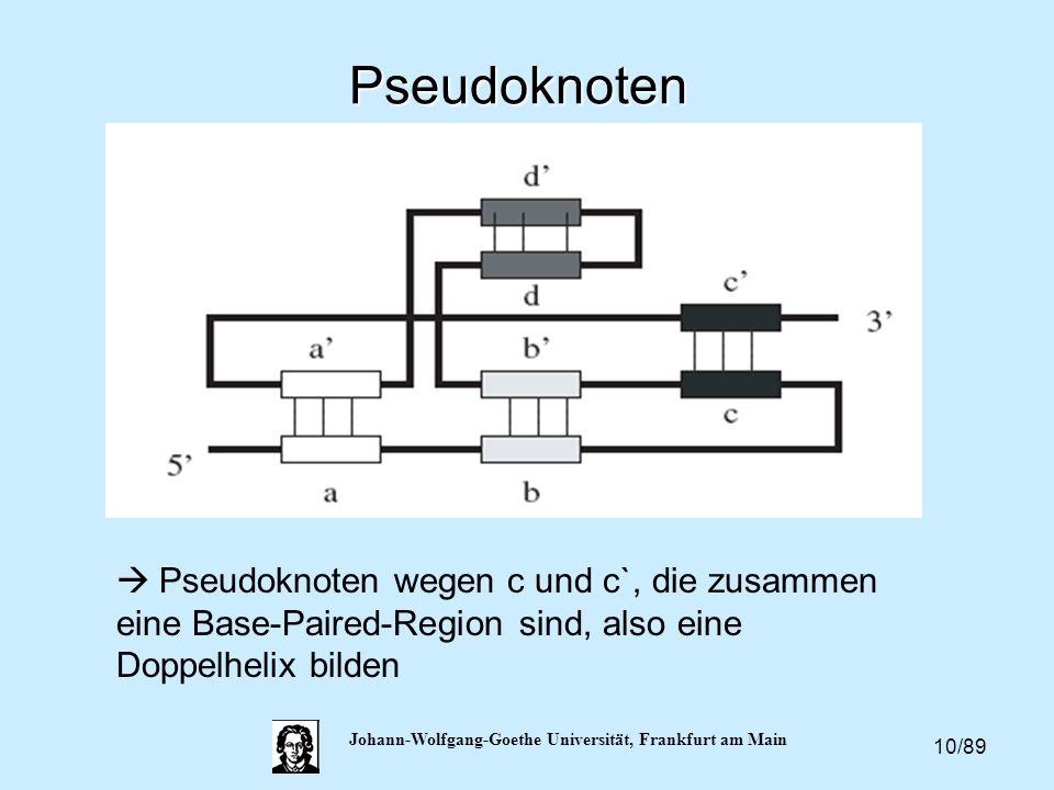 10/89 Johann-Wolfgang-Goethe Universität, Frankfurt am Main Pseudoknoten  Pseudoknoten wegen c und c`, die zusammen eine Base-Paired-Region sind, als