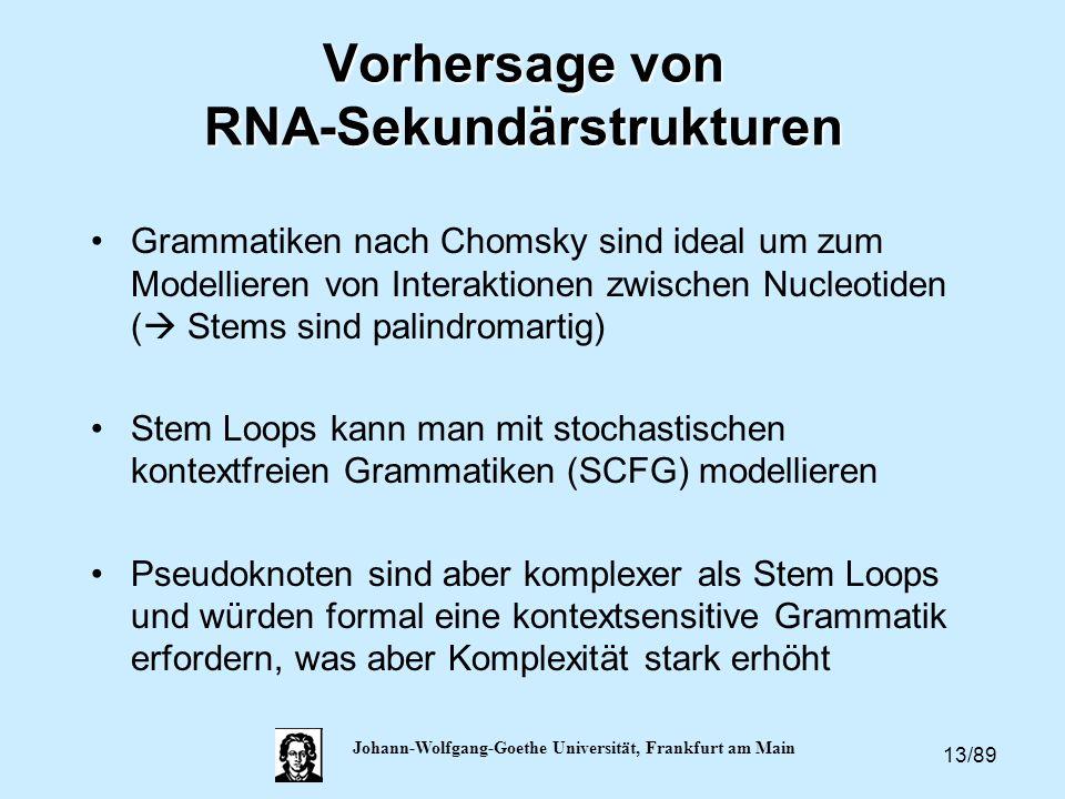 13/89 Johann-Wolfgang-Goethe Universität, Frankfurt am Main Vorhersage von RNA-Sekundärstrukturen Grammatiken nach Chomsky sind ideal um zum Modellier