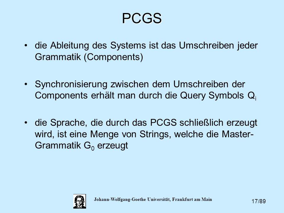 17/89 Johann-Wolfgang-Goethe Universität, Frankfurt am MainPCGS die Ableitung des Systems ist das Umschreiben jeder Grammatik (Components) Synchronisi