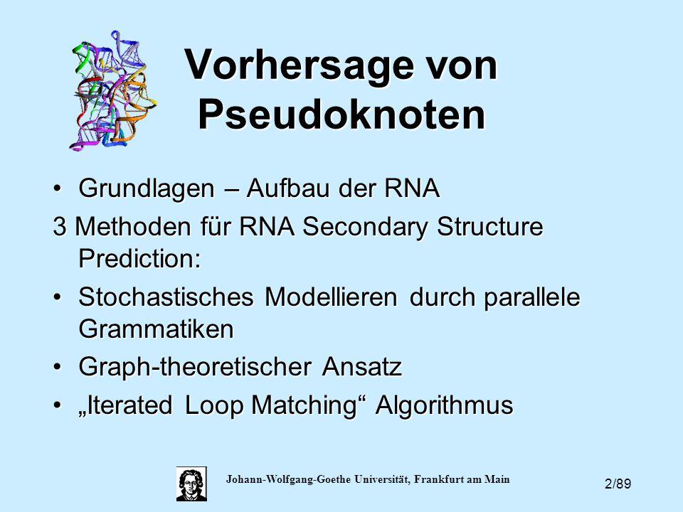 2/89 Johann-Wolfgang-Goethe Universität, Frankfurt am Main Vorhersage von Pseudoknoten Grundlagen – Aufbau der RNAGrundlagen – Aufbau der RNA 3 Method