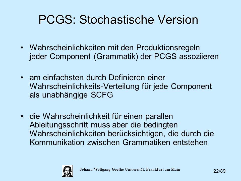22/89 Johann-Wolfgang-Goethe Universität, Frankfurt am Main PCGS: Stochastische Version Wahrscheinlichkeiten mit den Produktionsregeln jeder Component