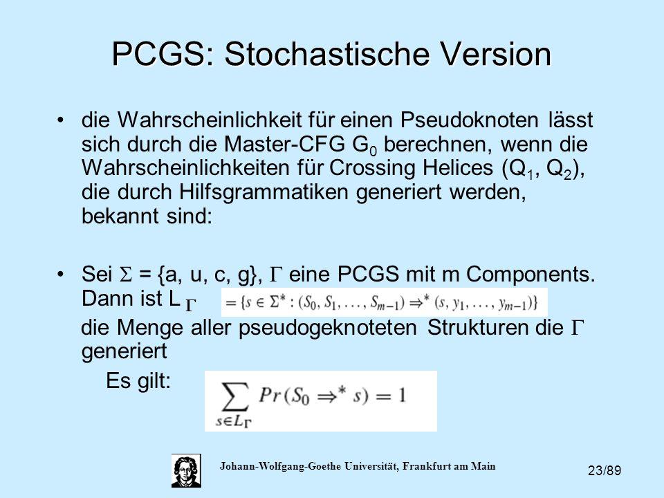 23/89 Johann-Wolfgang-Goethe Universität, Frankfurt am Main PCGS: Stochastische Version die Wahrscheinlichkeit für einen Pseudoknoten lässt sich durch