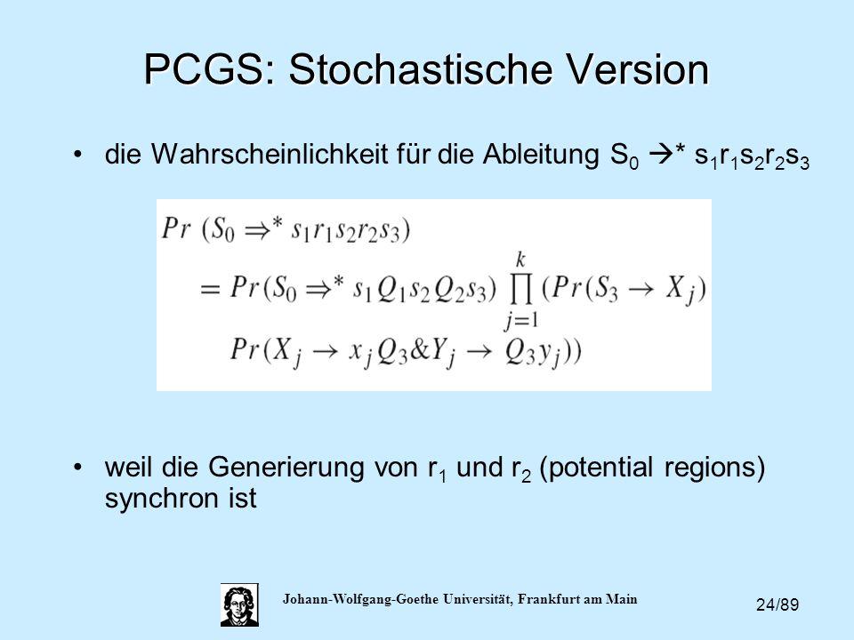 24/89 Johann-Wolfgang-Goethe Universität, Frankfurt am Main PCGS: Stochastische Version die Wahrscheinlichkeit für die Ableitung S 0  * s 1 r 1 s 2 r