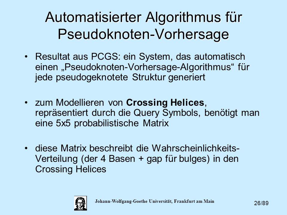 26/89 Johann-Wolfgang-Goethe Universität, Frankfurt am Main Automatisierter Algorithmus für Pseudoknoten-Vorhersage Resultat aus PCGS: ein System, das