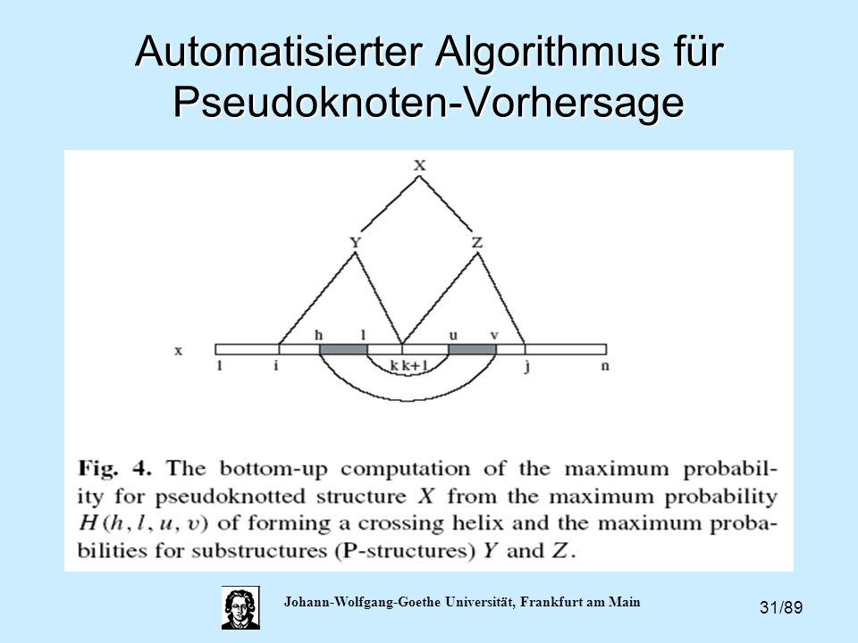 31/89 Johann-Wolfgang-Goethe Universität, Frankfurt am Main Automatisierter Algorithmus für Pseudoknoten-Vorhersage