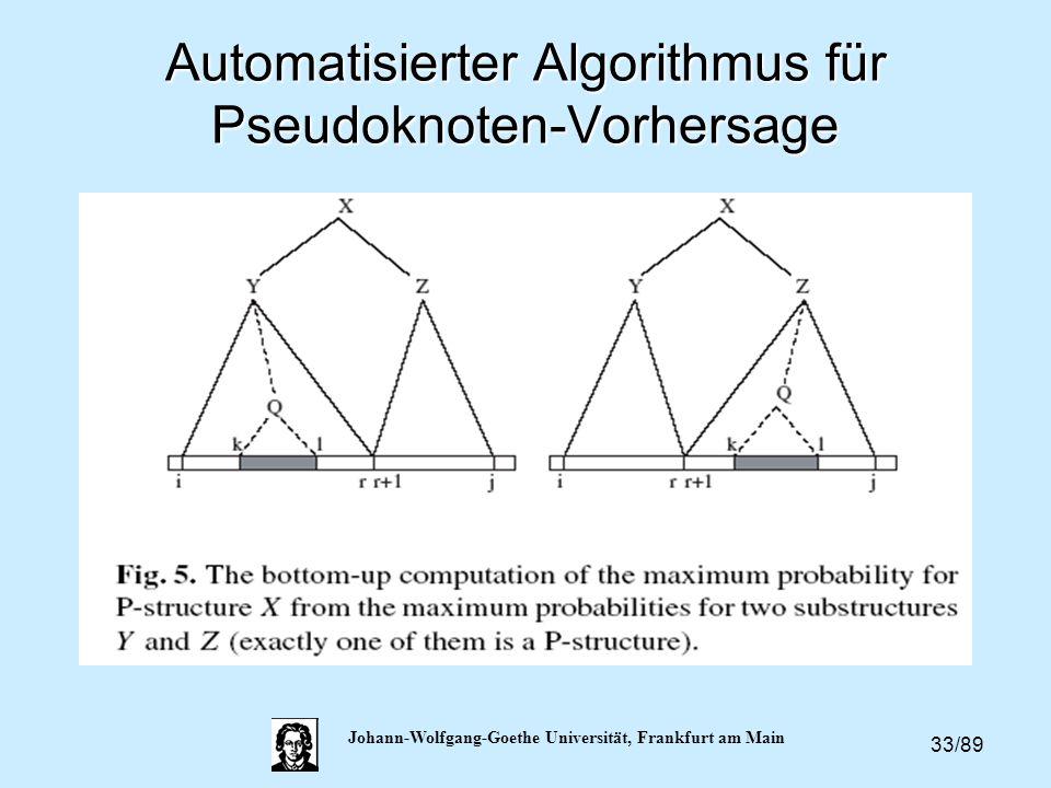 33/89 Johann-Wolfgang-Goethe Universität, Frankfurt am Main Automatisierter Algorithmus für Pseudoknoten-Vorhersage