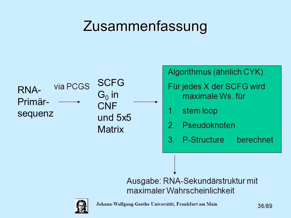 36/89 Johann-Wolfgang-Goethe Universität, Frankfurt am Main Zusammenfassung RNA- Primär- sequenz via PCGS SCFG G 0 in CNF und 5x5 Matrix Algorithmus (
