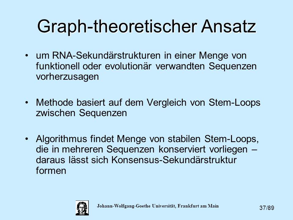 37/89 Johann-Wolfgang-Goethe Universität, Frankfurt am Main Graph-theoretischer Ansatz um RNA-Sekundärstrukturen in einer Menge von funktionell oder e