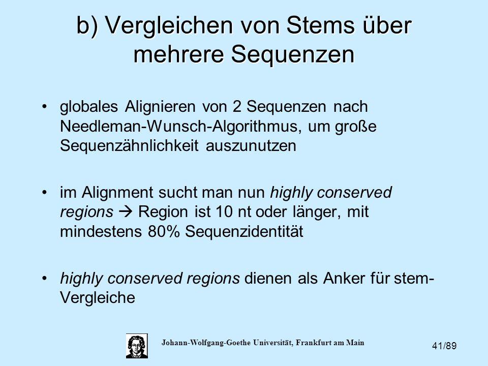 41/89 Johann-Wolfgang-Goethe Universität, Frankfurt am Main b) Vergleichen von Stems über mehrere Sequenzen globales Alignieren von 2 Sequenzen nach N