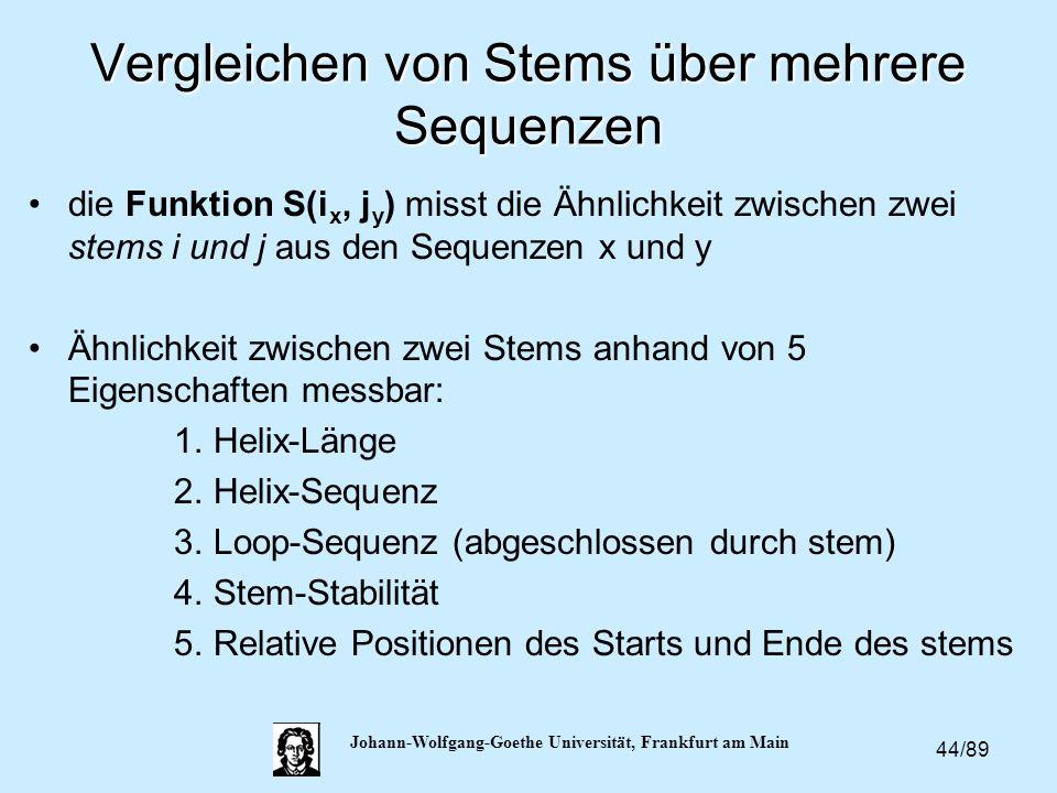 44/89 Johann-Wolfgang-Goethe Universität, Frankfurt am Main Vergleichen von Stems über mehrere Sequenzen die Funktion S(i x, j y ) misst die Ähnlichke