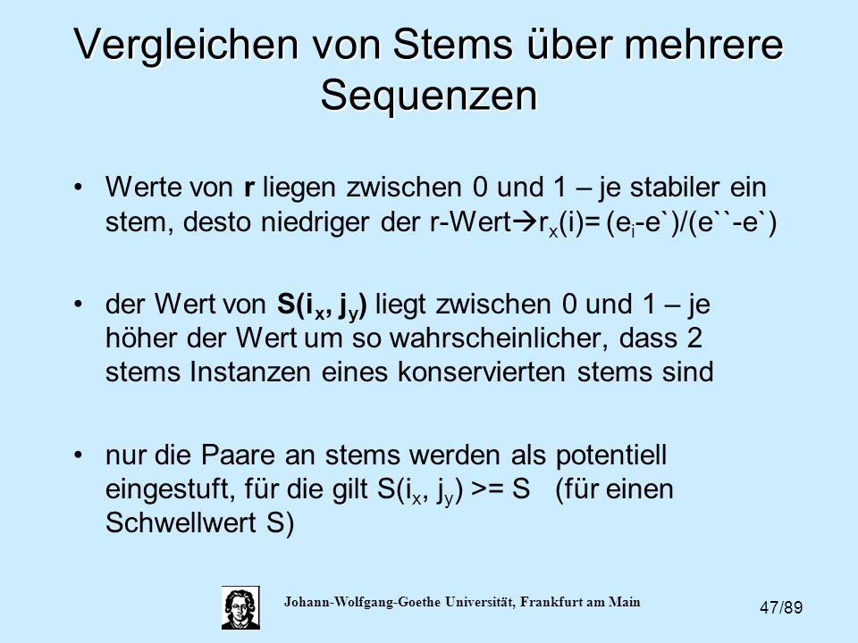 47/89 Johann-Wolfgang-Goethe Universität, Frankfurt am Main Vergleichen von Stems über mehrere Sequenzen Werte von r liegen zwischen 0 und 1 – je stab