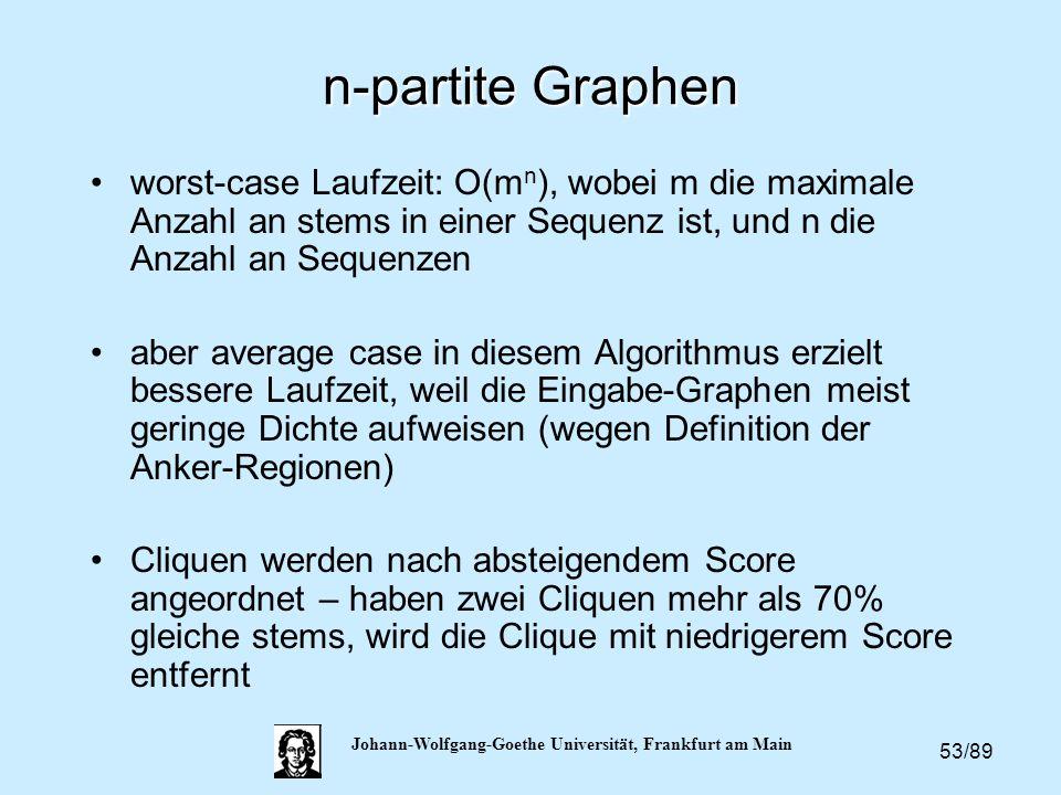 53/89 Johann-Wolfgang-Goethe Universität, Frankfurt am Main n-partite Graphen worst-case Laufzeit: O(m n ), wobei m die maximale Anzahl an stems in ei