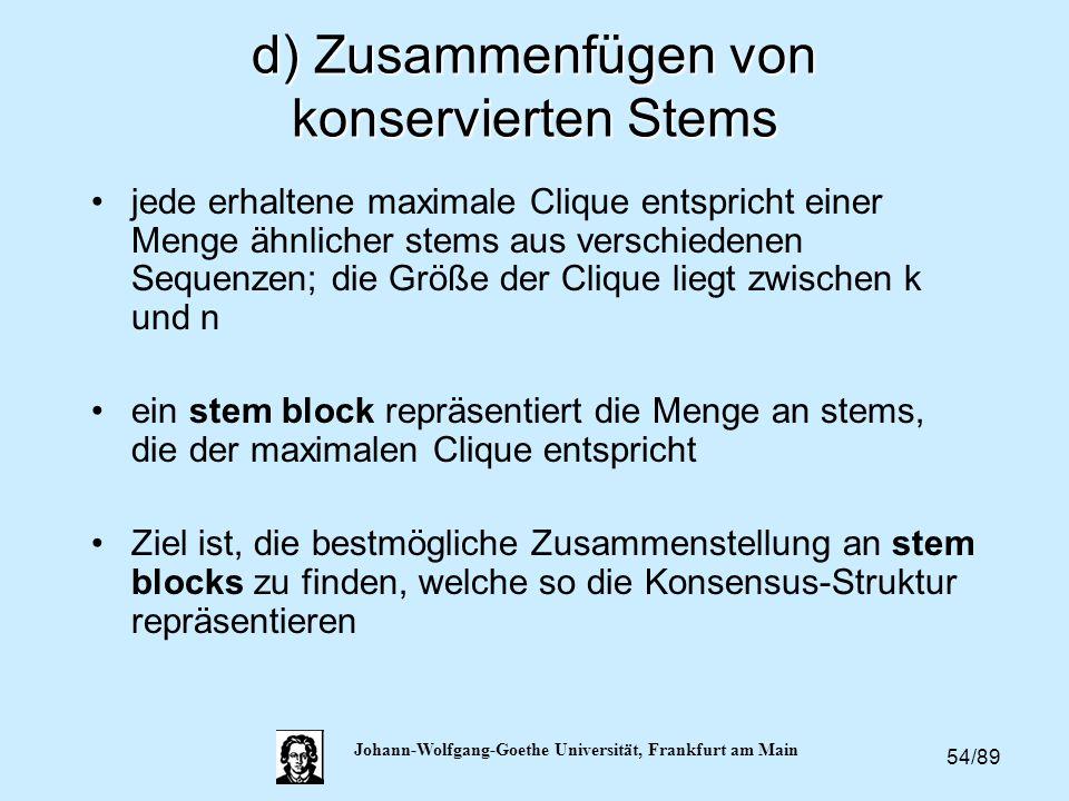54/89 Johann-Wolfgang-Goethe Universität, Frankfurt am Main d) Zusammenfügen von konservierten Stems jede erhaltene maximale Clique entspricht einer M
