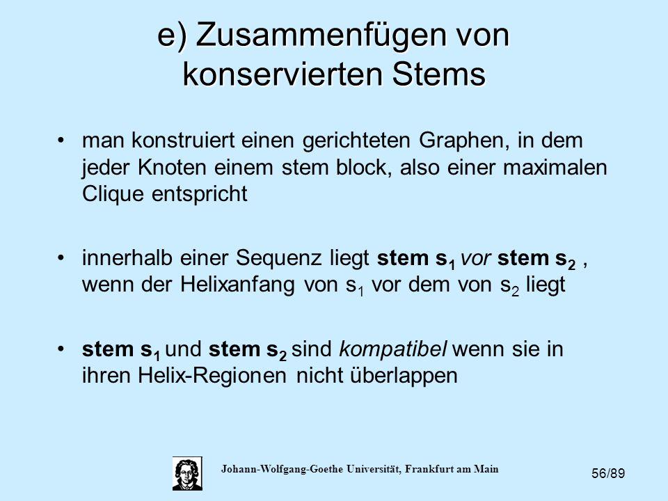 56/89 Johann-Wolfgang-Goethe Universität, Frankfurt am Main e) Zusammenfügen von konservierten Stems man konstruiert einen gerichteten Graphen, in dem
