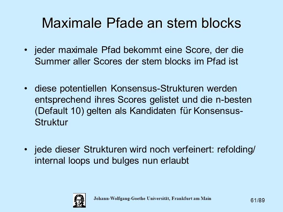 61/89 Johann-Wolfgang-Goethe Universität, Frankfurt am Main Maximale Pfade an stem blocks jeder maximale Pfad bekommt eine Score, der die Summer aller