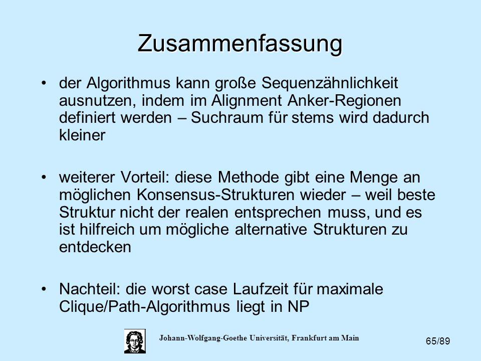 65/89 Johann-Wolfgang-Goethe Universität, Frankfurt am Main Zusammenfassung der Algorithmus kann große Sequenzähnlichkeit ausnutzen, indem im Alignmen