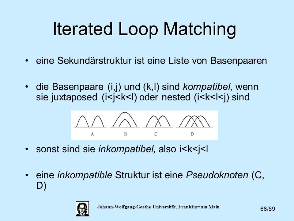 66/89 Johann-Wolfgang-Goethe Universität, Frankfurt am Main Iterated Loop Matching eine Sekundärstruktur ist eine Liste von Basenpaaren die Basenpaare