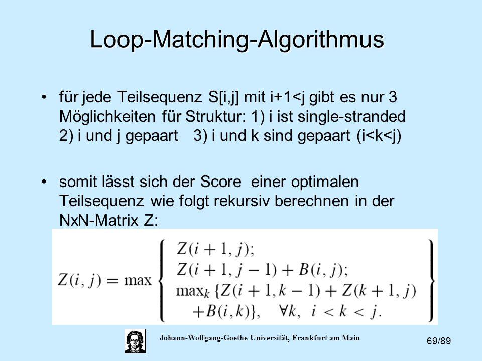 69/89 Johann-Wolfgang-Goethe Universität, Frankfurt am Main Loop-Matching-Algorithmus für jede Teilsequenz S[i,j] mit i+1<j gibt es nur 3 Möglichkeite