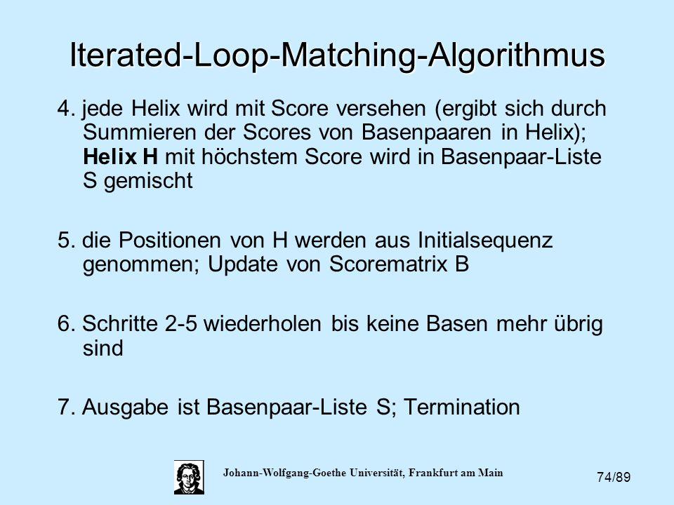 74/89 Johann-Wolfgang-Goethe Universität, Frankfurt am Main Iterated-Loop-Matching-Algorithmus 4. jede Helix wird mit Score versehen (ergibt sich durc