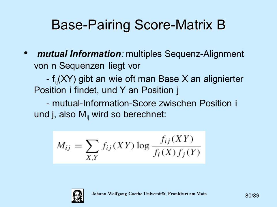 80/89 Johann-Wolfgang-Goethe Universität, Frankfurt am Main Base-Pairing Score-Matrix B mutual Information: multiples Sequenz-Alignment von n Sequenze